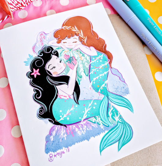 *LIMITED RELEASE* Mermaid Gift Exchange - 5x7 Print