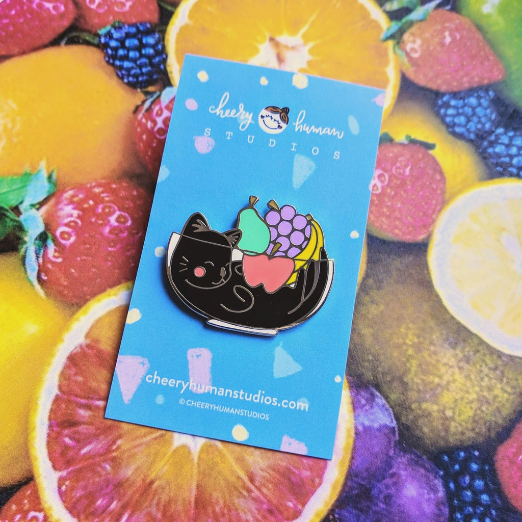 "Cat & Fruits - 1.5"" Hard Enamel Pin"