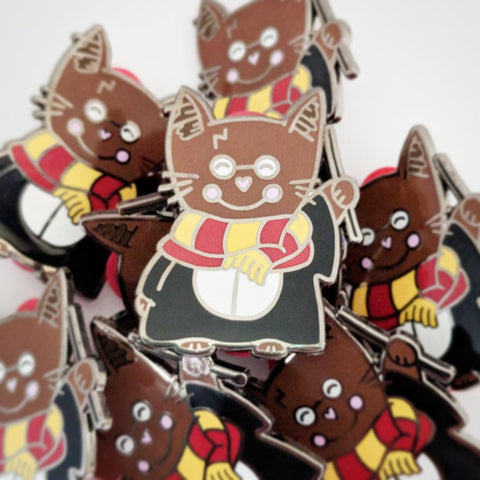 "Meowy Pawter - Wizard Kitty - 1.5"" Hard Enamel Pin"