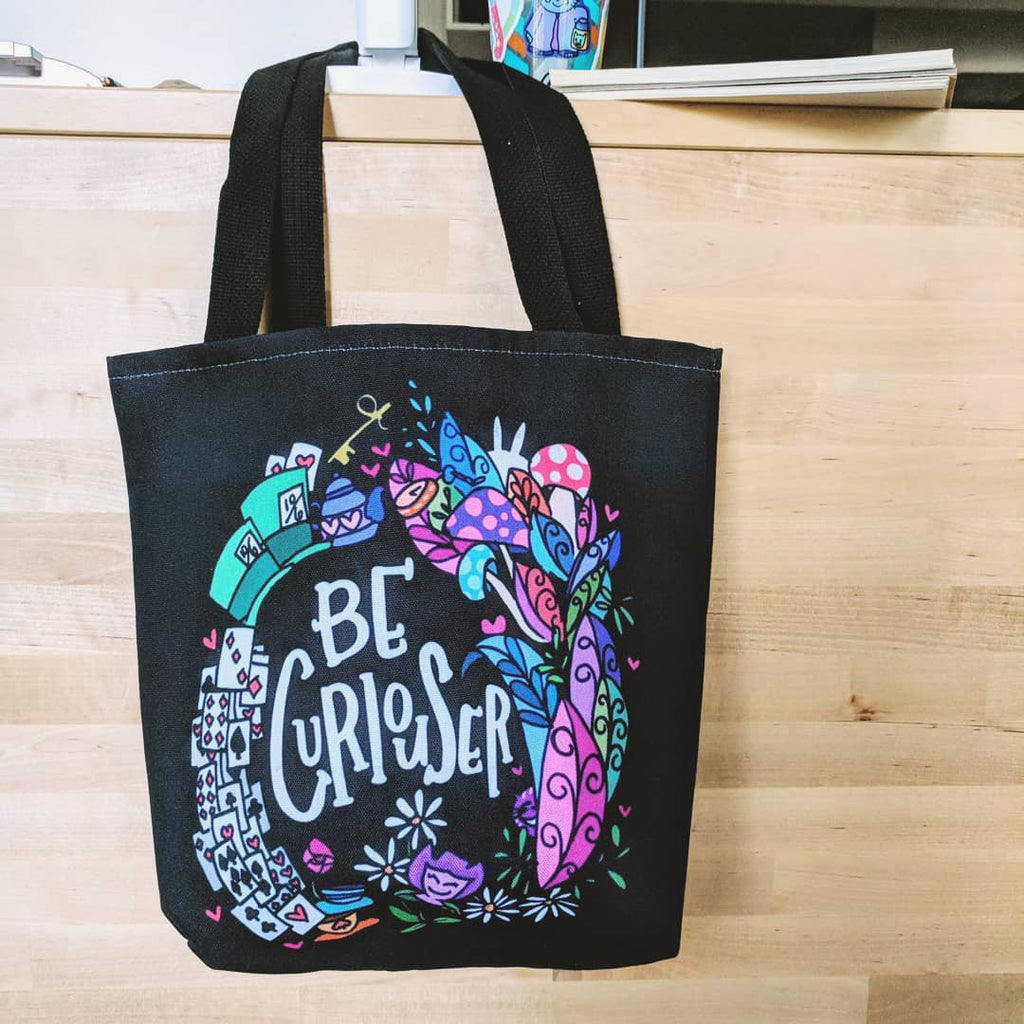 Be Curiouser - Thick Cotton Tote Bag (w/ Design Printed on Both Sides)