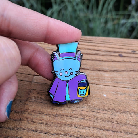 "Hatbox Kitty - 1.5"" Hard Enamel Pin"