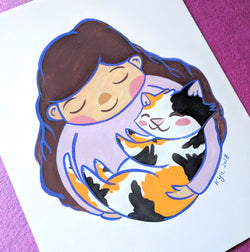 Calico Cat Hugs - 8.5 x 11 Print