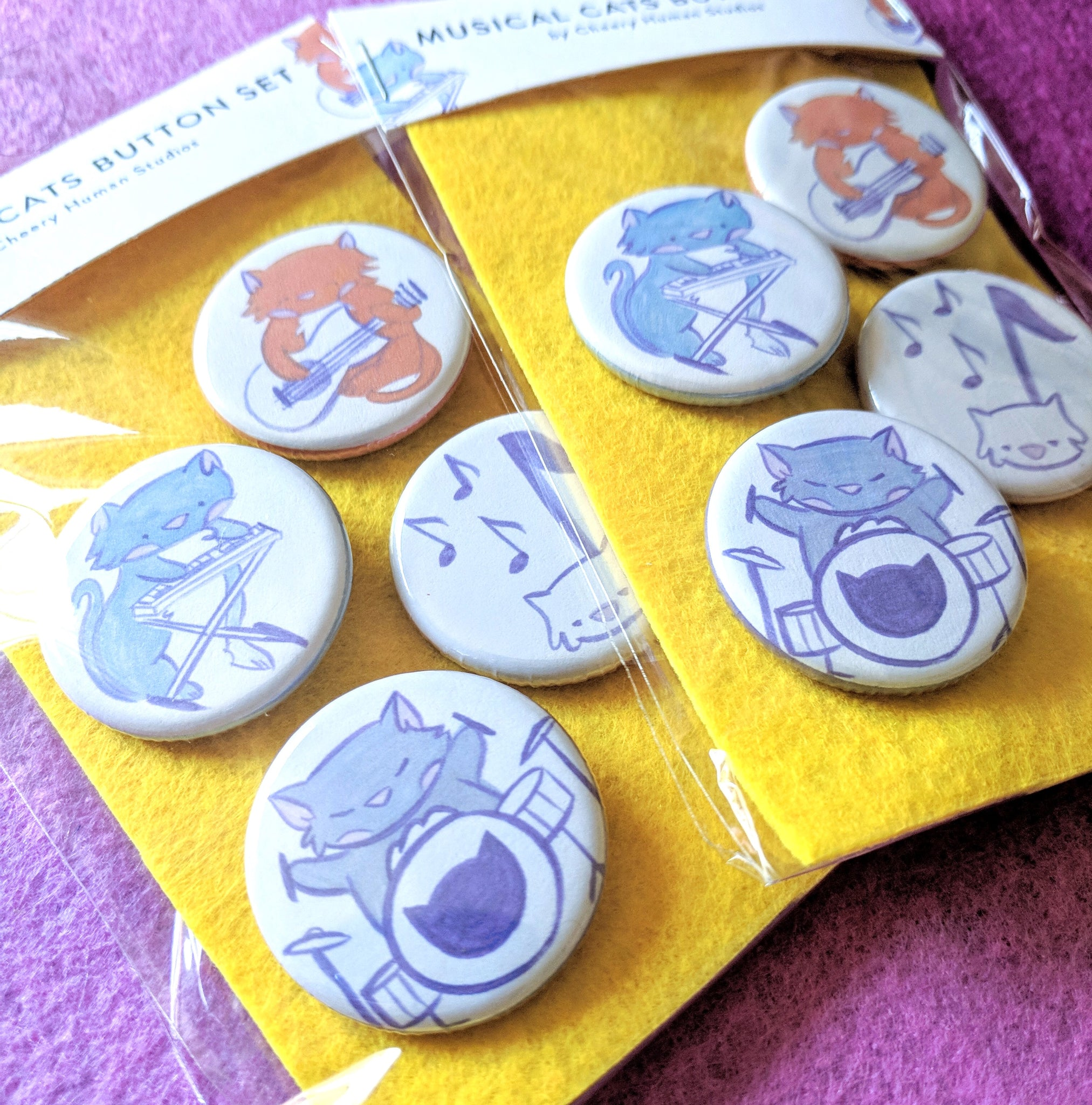 Musical Cats - 4 Button Pack