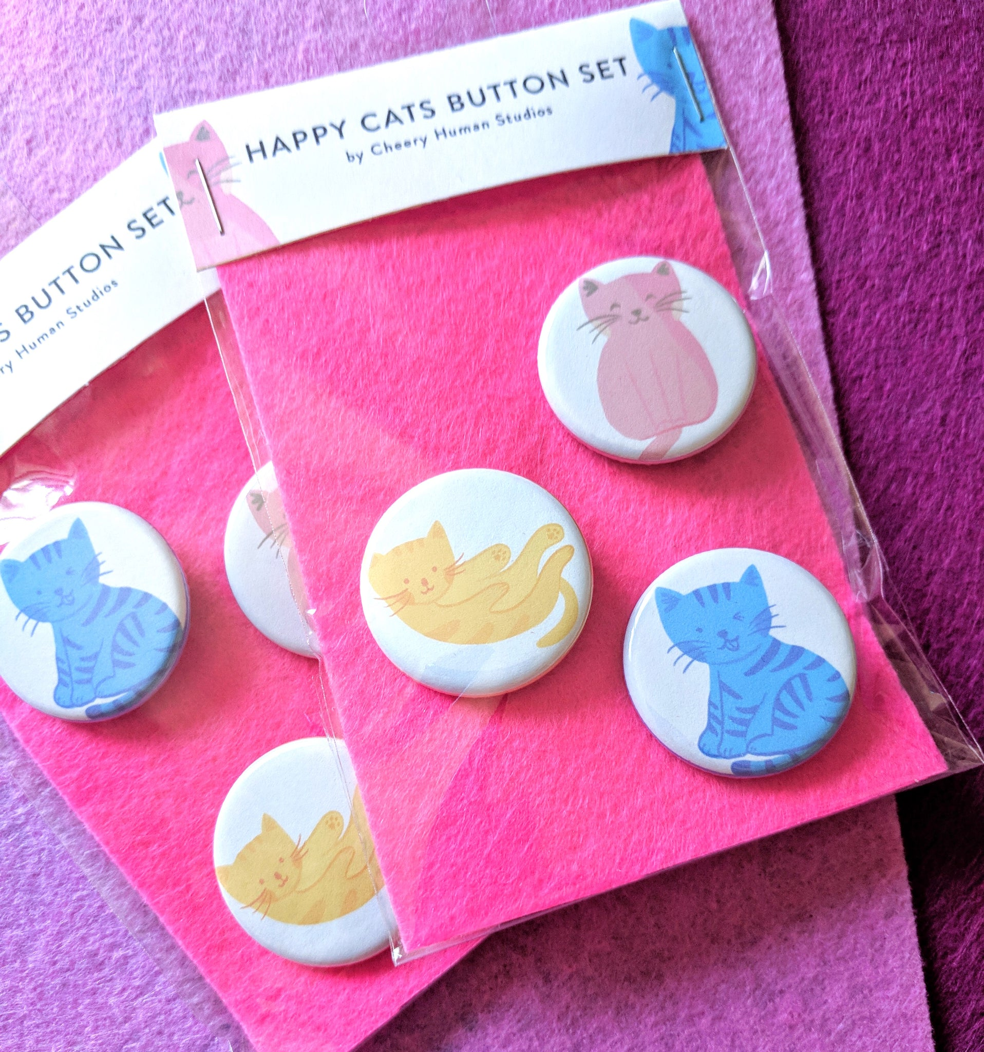 Colorful Cats - 3 Button Pack