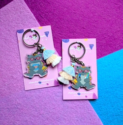 Crafty Kitty - Clear Acrylic Keychain