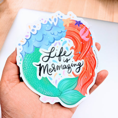 Life is Mermazing ( *Updated Design* ) - Large Vinyl Sticker
