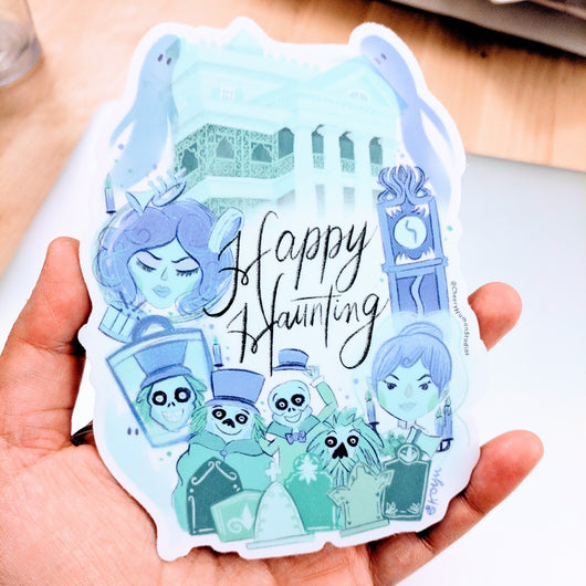Happy Haunting ( *Updated Design* ) - Large Vinyl Sticker
