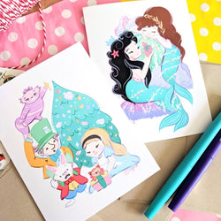 Holiday Card Duo: Wonderland + Mermaid Lagoon - Greeting Card Pack