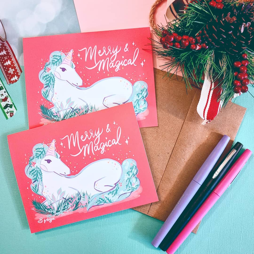 Merry & Magical Unicorn - Holiday Greeting Card