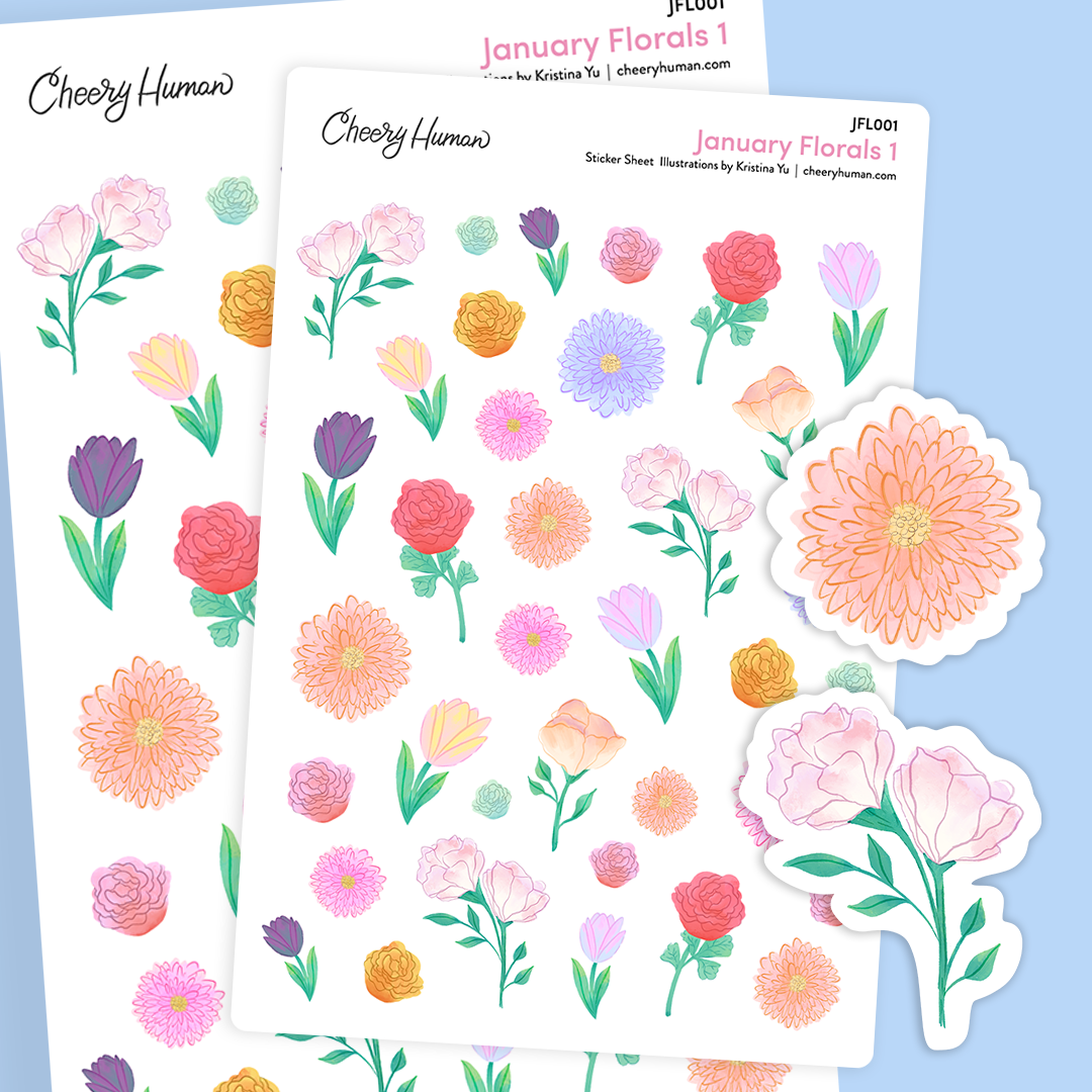 January Florals #1 - Stickers | Single Sticker Sheet or Pack of 5