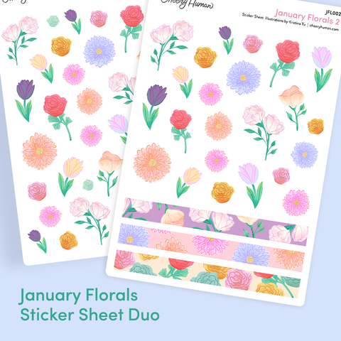 January Florals Sticker Sheet Duo | Sticker Sheets | Planner Stickers
