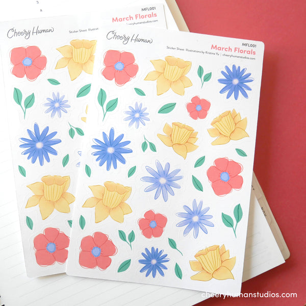 March Florals - Stickers | Single Sticker Sheet or Pack of 5