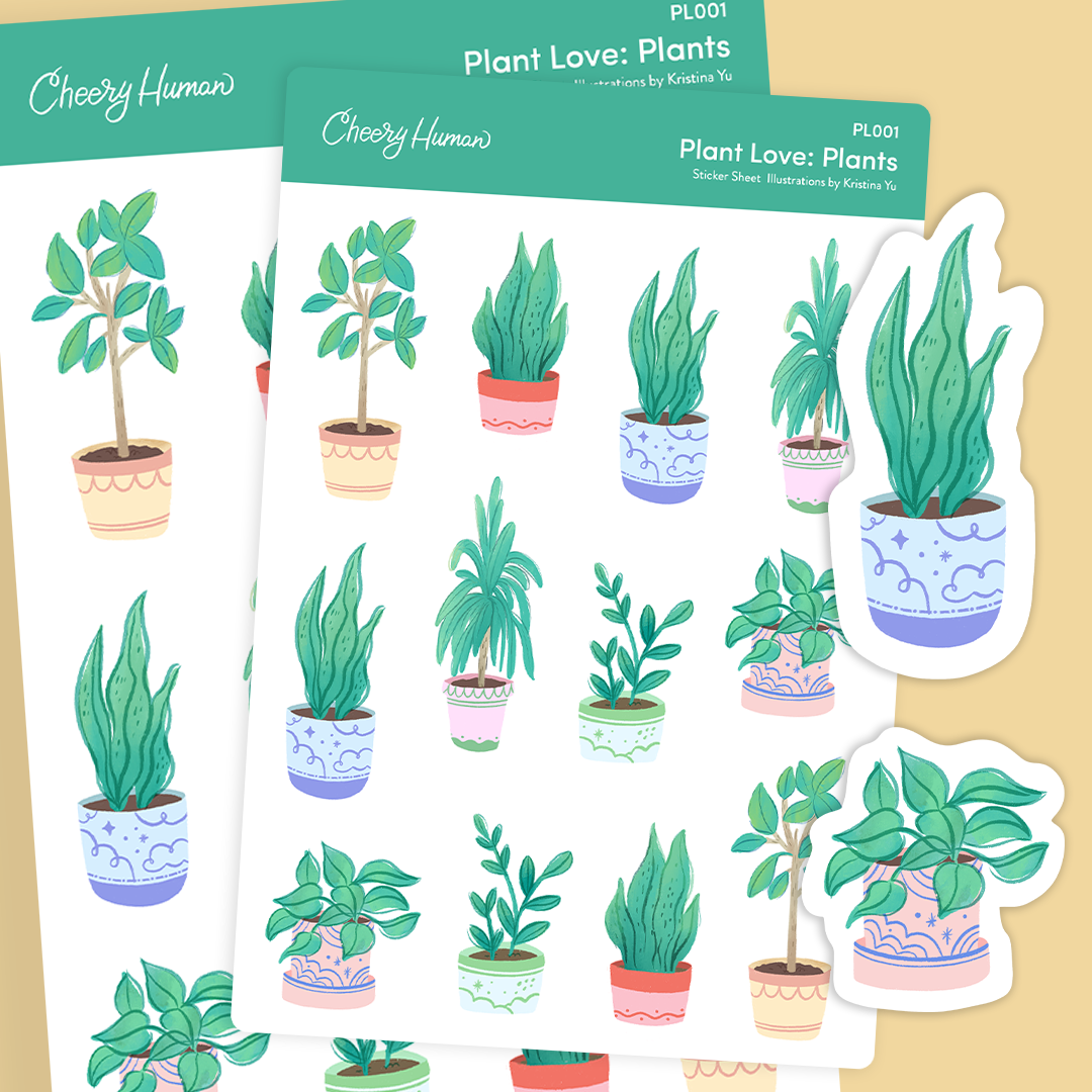Plant Love: Plants - Stickers | Single Sticker Sheet or Pack of 5