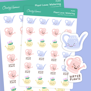 Plant Love: Watering - Stickers | Single Sticker Sheet or Pack of 5