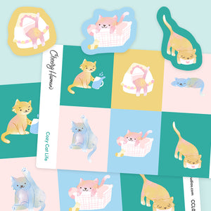 Cozy Cat Life - Handmade Vinyl Sticker Sheet