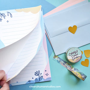 Colorful Cloud Garden Letter Set & Washi Tape Bundle