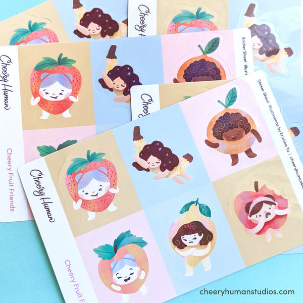 Cheery Fruit Friends - Handmade Vinyl Sticker Sheet