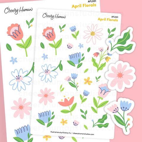 April Florals | Single Sticker Sheet or Pack of 5