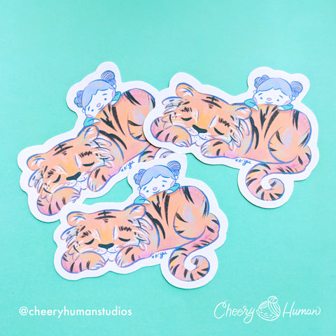 Tiger Friend - Handmade Vinyl Sticker