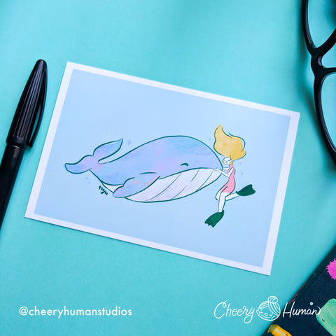 Whale Friend - 4x6 Art Print