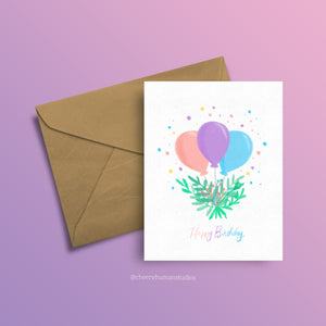 Pastel Birthday Balloons - Greeting Card