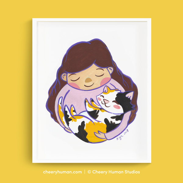 Calico Cat Hugs - 8 x 10 Art Print