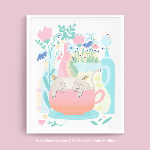 Teacup Cat Nap & Flora - Art Print