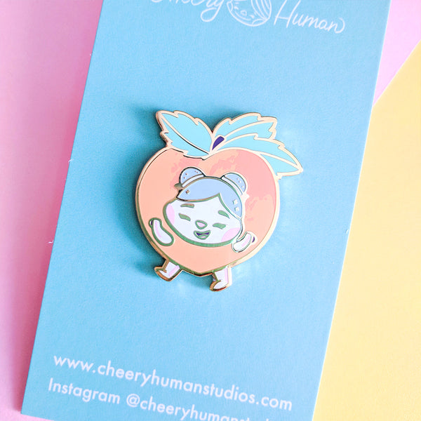 "Cheery Peach - 1.25"" Hard Enamel Pin"