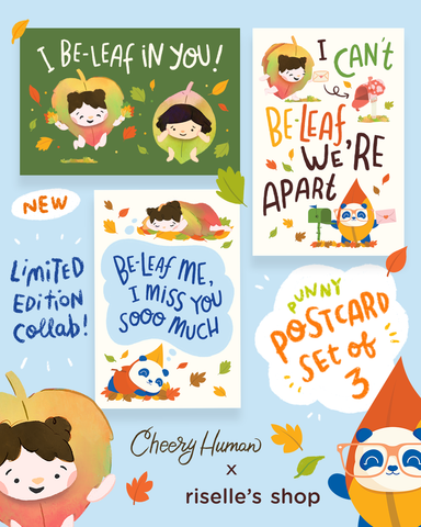 "*LIMITED EDITION* Cheery Human x Riselle Trinanes Collab ""Leaf Some Love"" Postcard Set"