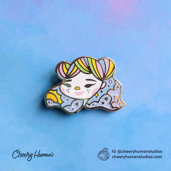 "Pastel Rainbow Girl - 1.25"" Hard Enamel Pin"