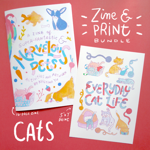 CAT BUNDLE | Marvelous Pets Zine + 5x7 inch Print | Fun Activities & Full Color Artwork