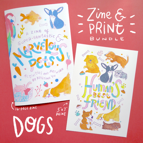 DOG BUNDLE | Marvelous Pets Zine + 5x7 inch Print | Fun Activities & Full Color Artwork