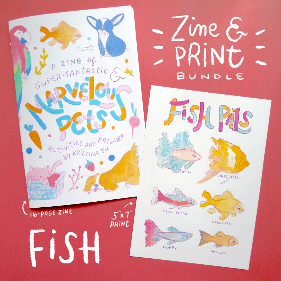 FISH BUNDLE | Marvelous Pets Zine + 5x7 inch Print | Fun Activities & Full Color Artwork