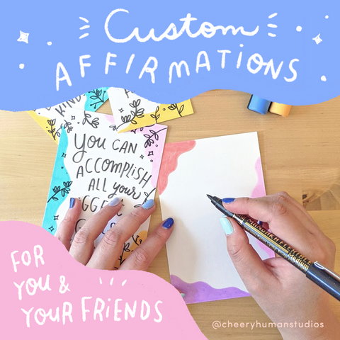CUSTOM Hand-lettered & Illustrated Affirmation | Custom Lettering