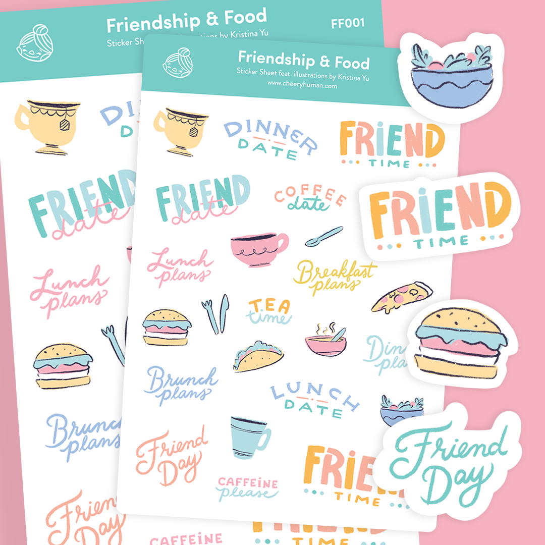 Friendship & Food - Stickers | Single Sticker Sheet or Pack of 5