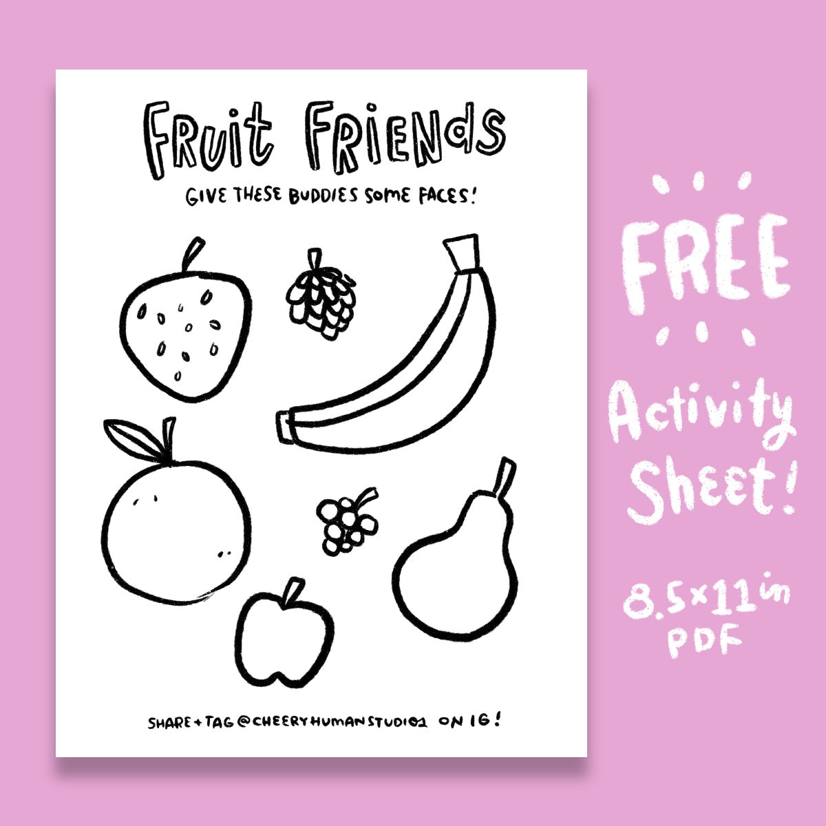*FREE* Fruit Friends - Coloring & Activity Sheet - Digital Download