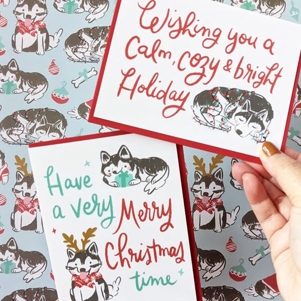 Holiday Husky Gift Wrap Pack | Wrapping Paper & Cards Set