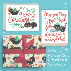 Cozy Holiday Cats Gift Wrap Pack | Wrapping Paper & Cards Set