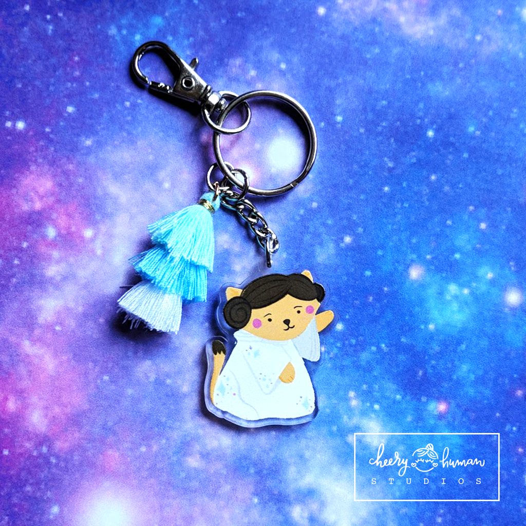 Space Princess Kitty - Clear Acrylic Keychain