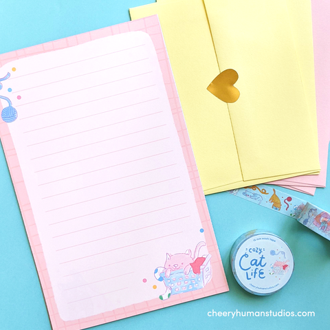 Cozy Cat Life Letter Set & Washi Tape Bundle