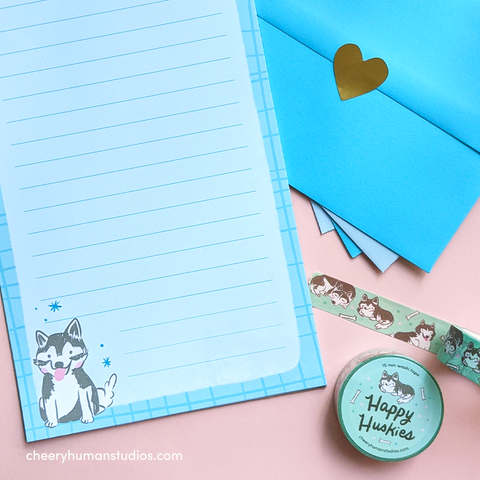 Happy Husky Letter Set & Washi Tape Bundle