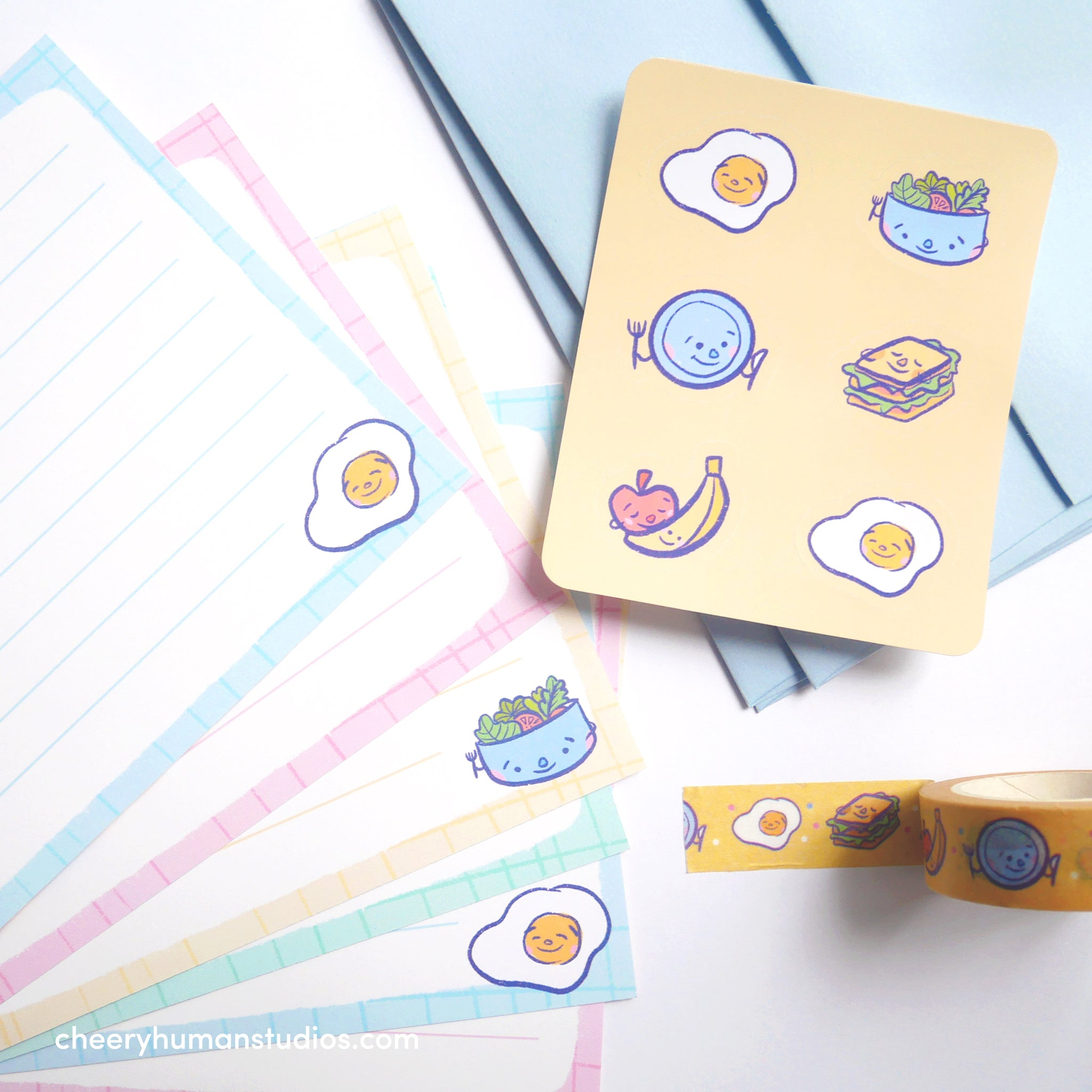 Meal Time - Notecard Letter Writing Set & Washi Tape Bundle