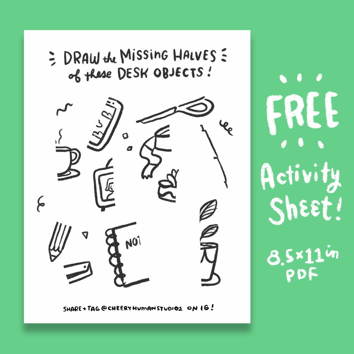 *FREE* Missing Halves: Desk Objects - Coloring & Activity Sheet - Digital Download