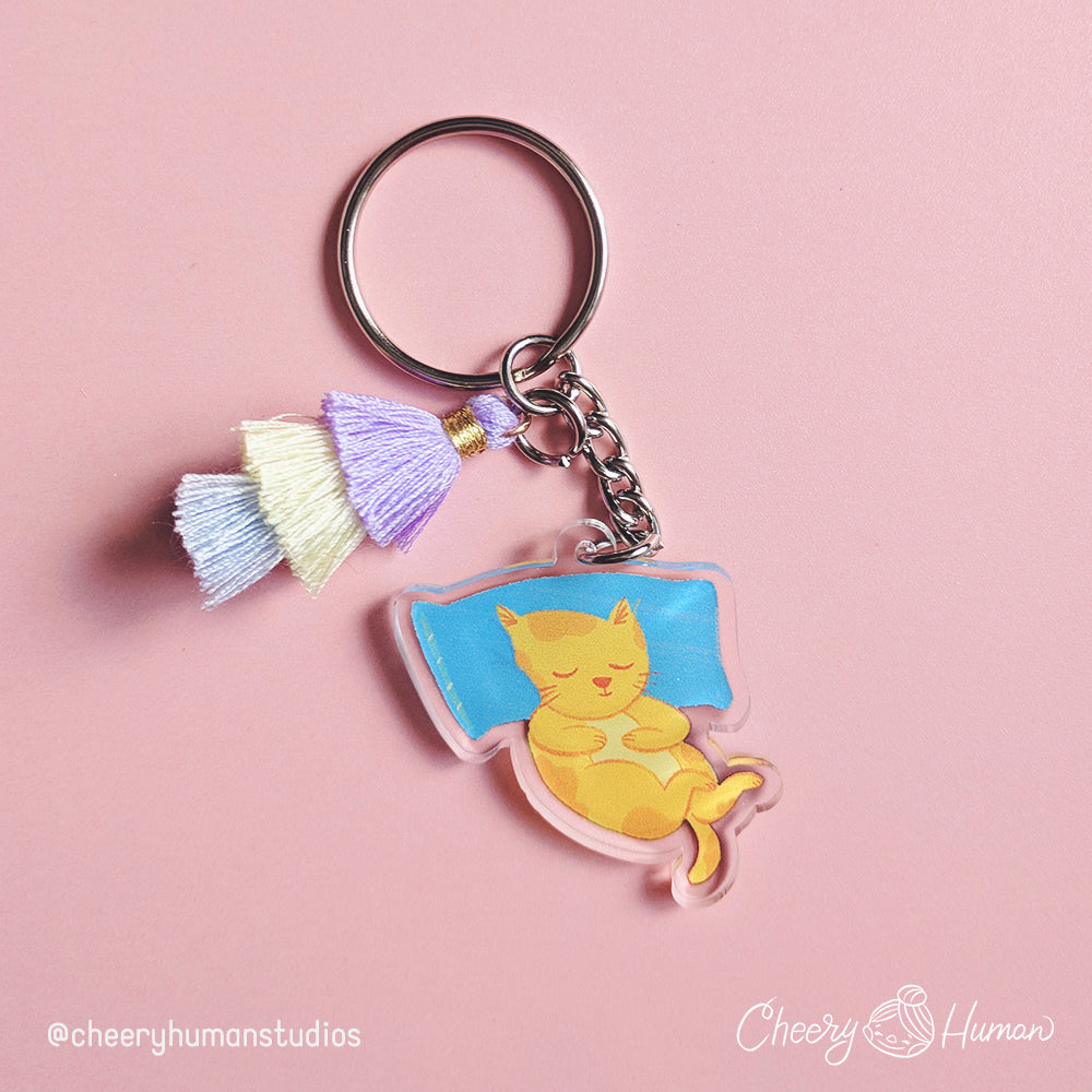 Nap Kitty - Clear Acrylic Keychain