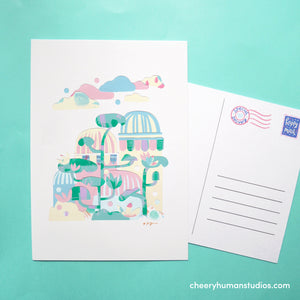 Lily Pad Town  | Paper Art Postcard Collection 1 | Cute Postcard