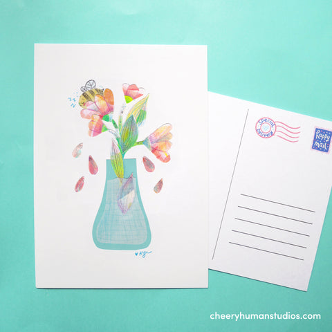 Bee & Flowers  | Paper Art Postcard Collection 1 | Cute Postcard