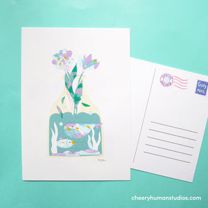 Sea Life & Flowers  | Paper Art Postcard Collection 1 | Cute Postcard