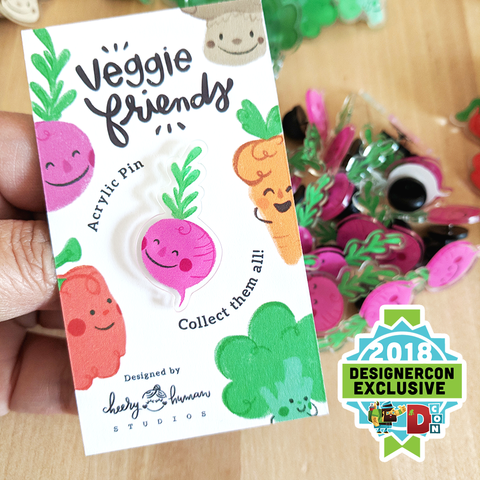 Veggie Friends: Beet - Acrylic Pin - DesignerCon Exclusive