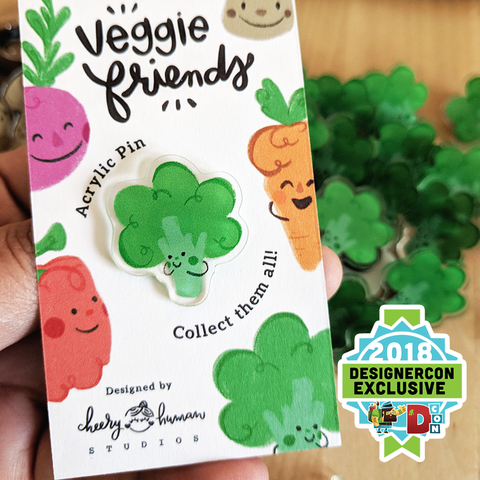 Veggie Friends: Broccoli - Acrylic Pin - DesignerCon Exclusive