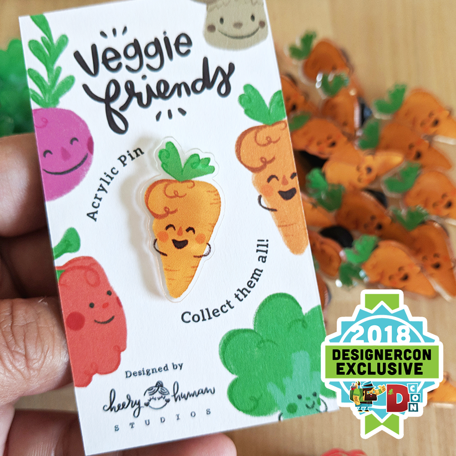 Veggie Friends: Carrot - Acrylic Pin - DesignerCon Exclusive
